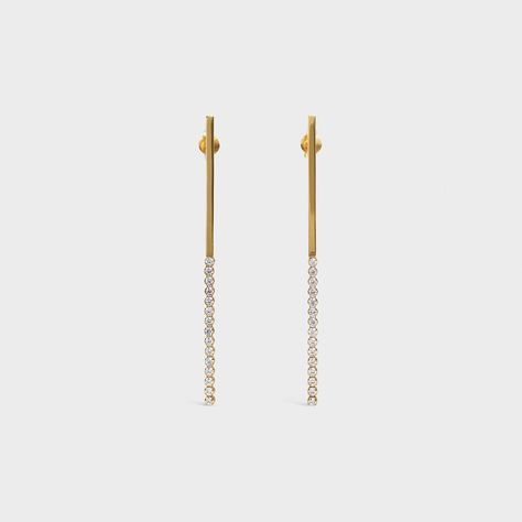 14K YELLOW GOLD IP MODERN STATEMENT BAR RECTANGLE SHAPED DANGLE DROP EARRINGS