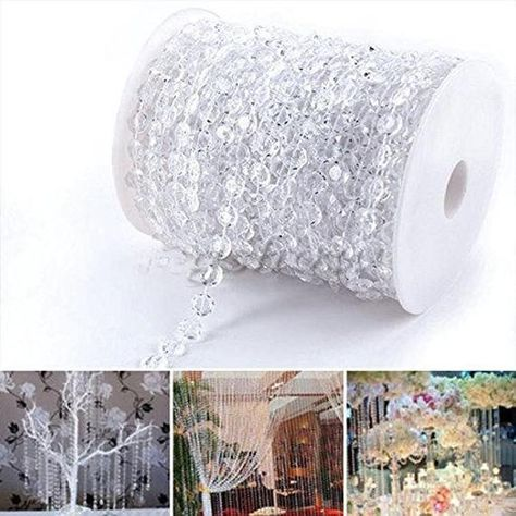 Size: 99 FT (30meter/33 YARDS) Beads measure 10mm It can easily be cut to any desired length and make a crystal wedding tree or beaded curtains The Acrylic Crystal Bead can play an important role in your wedding all special event decorators It would be the perfect way to dress up your reception or