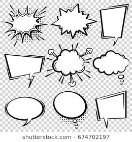 Comic Vector Speech Box Set Speech Bubble Set Cartoon Pop Art Expression Speech Cloud Illustration Comics Book Vect Book Art Projects Pop Art Halftone Dots