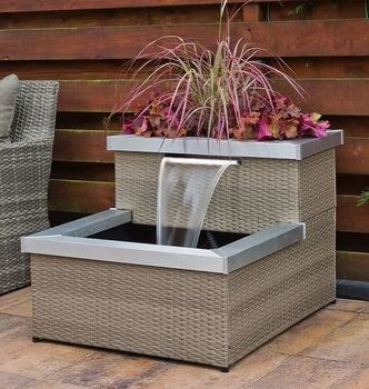 Allora Wicker Rattan 2 Tier Patio Water Feature Patio Water Feature Water Features Water Garden Kit