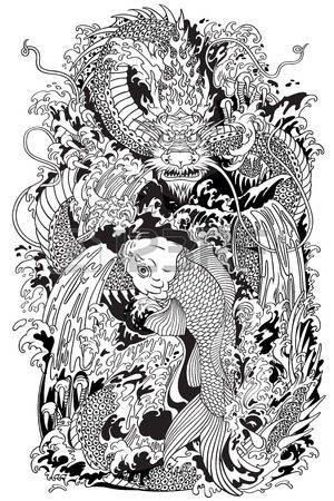 Japanese water dragon black and white. Japanese water dragon a traditional mythological deity creature in the sea or river splashes. black and white tattoo style vector illustration.