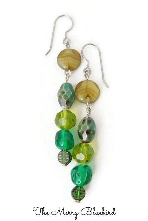 beads gift idea green purple blue Earrings-woman abstract cabochon modern design geometry