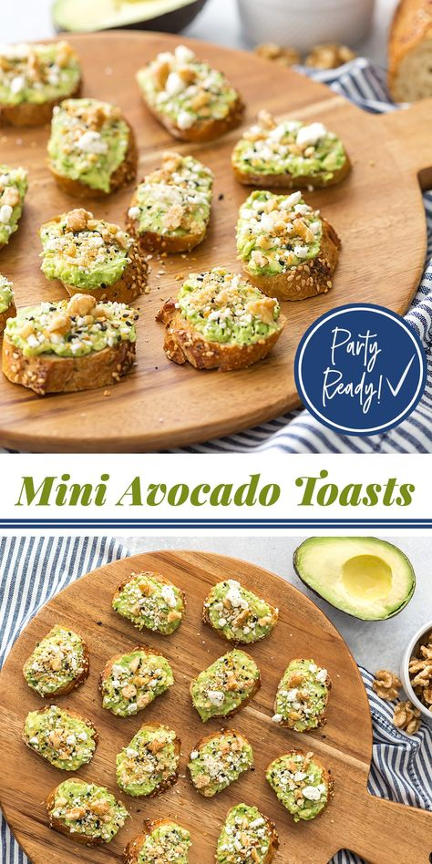 Avocado Toasts Party Ready Appetizer - Mini Avocado Toasts with Walnuts and Feta! Delicious and easy to make for a crowd!Party Ready Appetizer - Mini Avocado Toasts with Walnuts and Feta! Delicious and easy to make for a crowd! Brunch Appetizers, Appetizers For A Crowd, Appetizer Recipes, Mini Appetizers, Birthday Appetizers, Brunch Party Foods, Avacado Appetizers, Appetizer Dinner, Parties Food