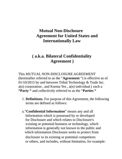 First Nations Voter Information Music and Film Producer \/ Bonded - mutual confidentiality agreement