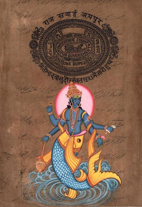Matsya – First Avatar of Vishnu Subject: Hindu Deity Painting Paint Material:Opaque Watercolors Base Material: Stamp Paper Size: 8 in.