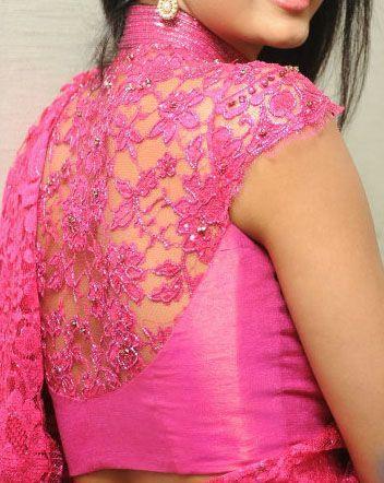 2f3bbd61679fb Pink Lace Blouse Back Design from Bhargavi Kunam