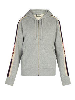 208e37380 Logo-stripe cotton hooded sweatshirt | Gucci | MATCHESFASHION.COM ...