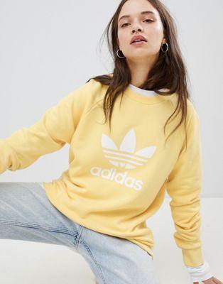 good service buy sale cost charm adidas Originals Trefoil Oversized Sweatshirt In Yellow in ...