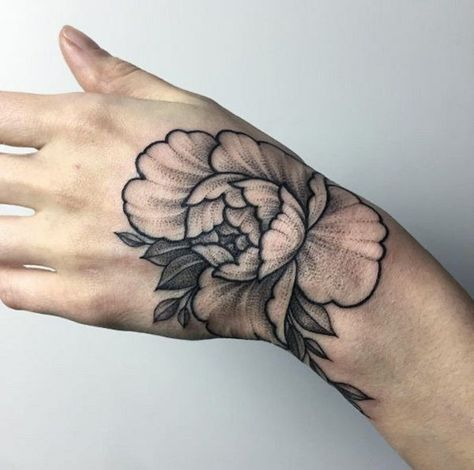ba482118f Shaded peony hand tattoo, is something worth trying. Well, if you are art  lover, you would definitely love to have this on your hand.