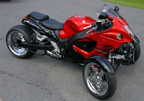 Hayabusa Reverse Trike – TT-Busa    The TT-Busa is simply a modified Suzuki Hayabusa. Coming with an extended swinger and a custom dual-wheel front, this trike is the first and only one in the list that resembles a motorcycle more than a car. Considered the fastest motorcycle in the world, the two-wheel Hayabusa can hit top speeds of 186 mph.