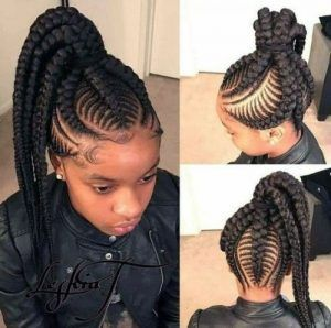 High Ponytail Chunky Fishbone Braids Hair Styles Feed In Braids Hairstyles Braided Hairstyles
