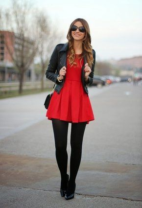 6b4fa8e1c5 Red skater dress with black tights and leather jacket! Love ...