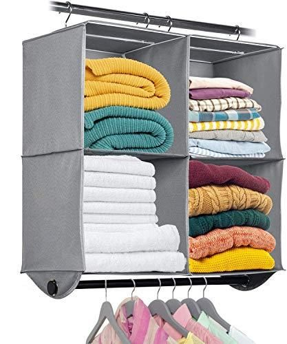 Hanging Closet Organizer with Garment Rod - Heavy Duty Fabric Space Saver for Closets, Easy to Mount, Foldable Closet Storage Shelves, Grey with Black Metal Rod - 4 Shelves