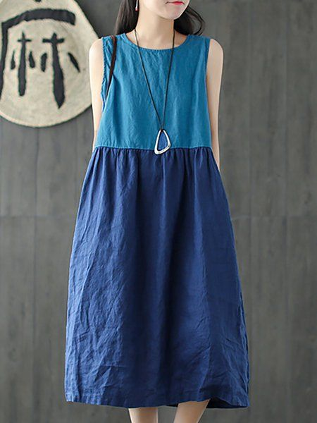 6220f75ec0 Buy Linen Dresses For Women from VIVID LINEN at StyleWe. Online Shopping  Blue Gathered Plus