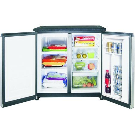 Rca 5 5 Cu Ft Side By Side 2 Door Fridge Freezer Rfr551 Stainless Walmart Com Refrigerator Freezer Glass Refrigerator Mini Fridge