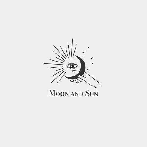 Premade Logo Hand Logo Hand Drawn Logo Moon Logo Sun Logo   Etsy