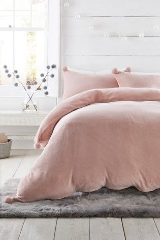 Fleece Pom Pom Duvet Cover And Pillowcase Set Bedding Sets Bedding Sets Uk Bed Duvet Covers