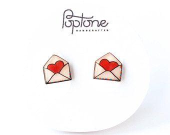 LDR Gift for Her Valentine/'s Gift for Girlfriend Heart Envelope Earring Love Letter Earrings Envelope Earrings Anniversary Gift for Her