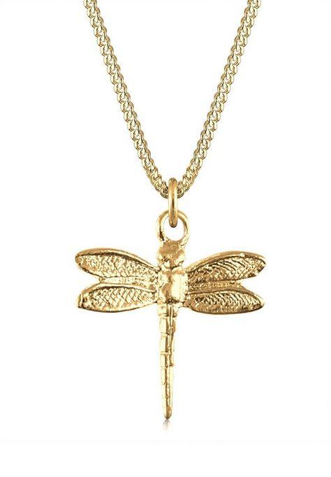Goldhimmel Collierkettchen Libelle 925 Sterling Silber Für 39 90 Trendige Halskette Aus Vergoldet Mit Modischem Libellen Anhänger Bei