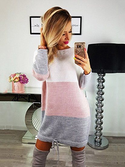 Minetom Damen Rundhals Strickkleid Stricksweat Frauen Stricken Langarm Lose Pulloverkleid Casual Mini Kleid Sweatkleid
