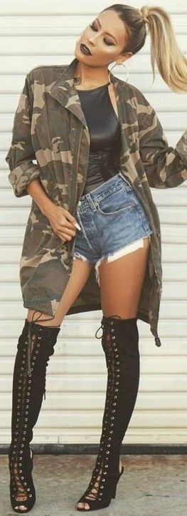 #fall #trending #outfits | Camo Jacket + Leather + Denim