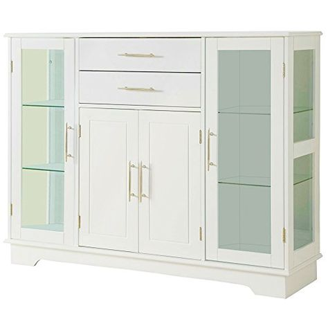 Efd White Buffet Cabinet Glass Doors Drawer Wooden Modern