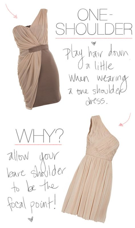 how to wear your hair with a one-shoulder dress