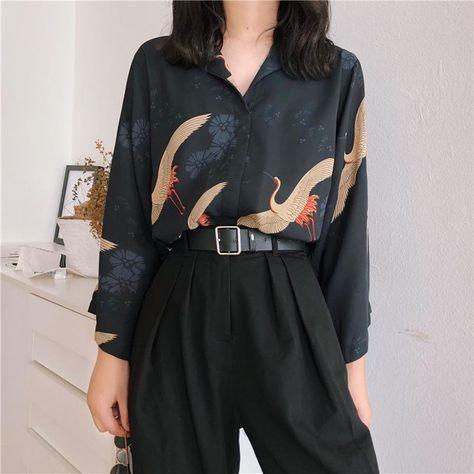 Cheerart Autumn 2018 Vintage Japanese Blouse Women V Neck Loose Top Femme Crane Print Black Fall Blouse Clothing (One Size)