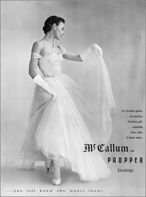 Propper Christmas Party Outfit 2020 Lillian Marcuson, McCallum and Propper stockings ad, Vogue
