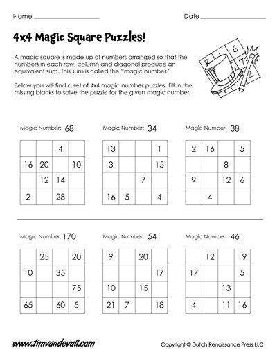Magic Squares Worksheets With Images Magic Squares Math Magic