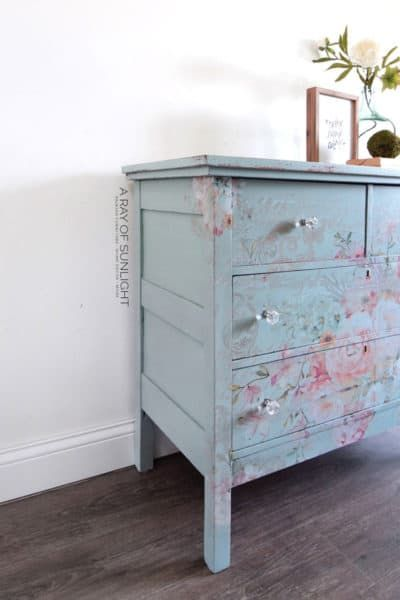 Easy Diy Teal Dresser With Floral Transfer Shabby Chic Dresser Shabby Chic Bedroom Furniture Teal Dresser