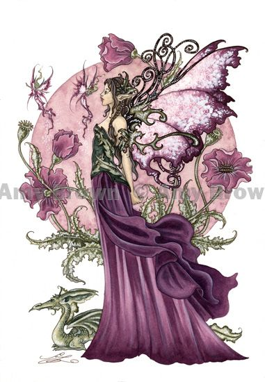 """""""Poppy Queen"""" ORIGINAL ART - Watercolor Paintings I - P - Amy Brown Fairy Art - The Official Gallery"""