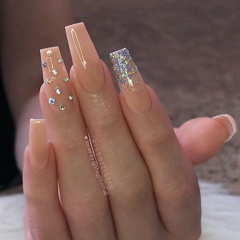 """TheGlitterNail 🎀 Get inspired! on Instagram: """"✨✨✨ Nude with Glitter Ombre and Crystals on long tapered Square Nails 👌 • 💅 Nail Artist: @kissartistry 💝 Follow her for more gorgeous nail…"""""""