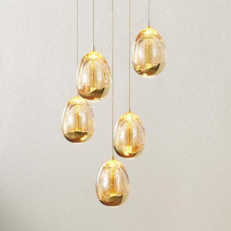 Hangelampe Rocio 5fl Fernbedienung Gold Rund Lampen Hange Lampe Hangeleuchte
