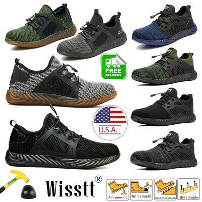 Mens Steel Lightweight Toe Cap Safety Trainers Work Boots Sports Hiking Shoes US