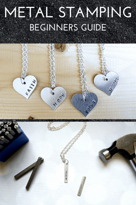 Learn how to easily create jewelry using this guide to metal stamping. Perfect for beginners, learn what tools you need and how to get crisp letters and images. Hand Stamped Metal, Hand Stamped Jewelry, Metal Stamping Jewelry, Jewellery Stamping, Metal Letters, Metal Necklaces, Metal Crafts, Personalized Jewelry, Making Ideas