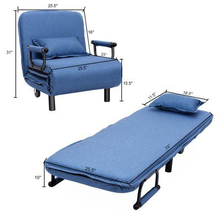 Costway Convertible Sofa Bed Folding Arm Chair Sleeper Leisure Recliner Lounge Couch Image 2 of 9 Sleeper Chair, Chair Bed, Recliner, Chair Cushions, Sleeper Ottoman, Lounge Couch, Lounge Seating, Fold Out Beds, Blue Armchair