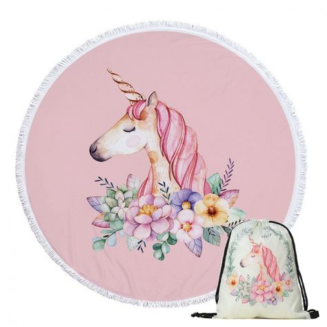 Unicorn Summer Round Beach Towels Thick Bath Shower Towel With Drawstring Storage Bag Yoga Circle Mat Cover //Price: $12.98 & FREE Shipping //     #accesories