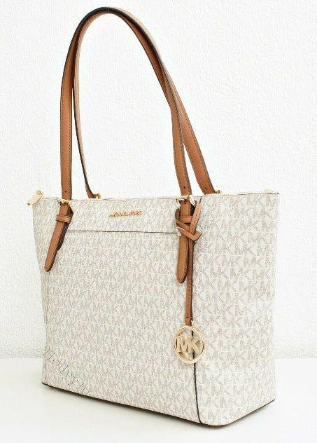 Authentic NWT Michael Kors Ciara Vanilla Acorn Large TZ Zip