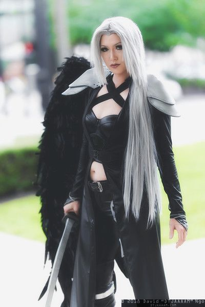 Final Fantasy 7 Sephiroth Black Long Cosplay Shoes Boots