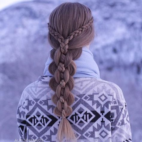 Dutch lace braids into an intricate five strand?hair must be texturized to achieve this effect (braided hairstyles for long hair dutch) Pretty Hairstyles, Braided Hairstyles, Wedding Hairstyles, Updo Hairstyle, Wacky Hairstyles, Winter Hairstyles, Everyday Hairstyles, Braided Waves, Braided Updo