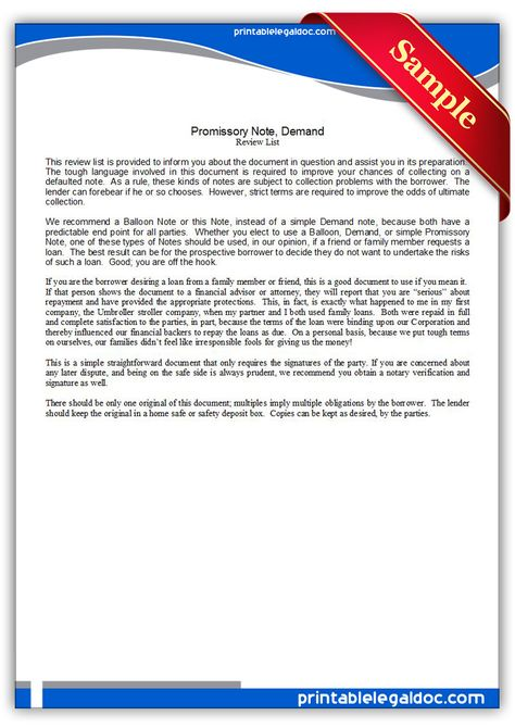 Printable promissory note Template PRINTABLE LEGAL FORMS - demand note template