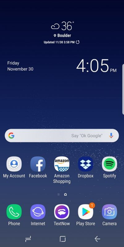 Android Samsung Galaxy S8 Experience Home Screen Weather Clock Time Android Organization Samsung Phone Samsung