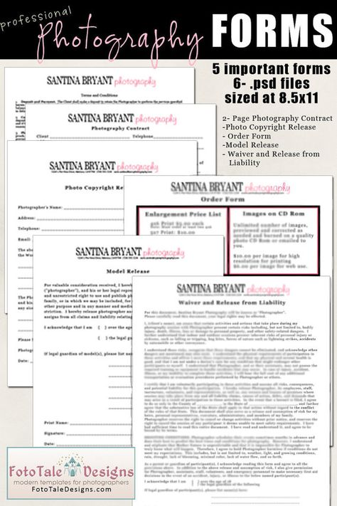 INSTANT DOWNLOAD- Professional Photography Forms- Contract, Model - general liability release form template