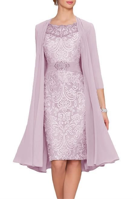 2pcs Lilac Lace Mother Of The Bride Dress Size 14 Knee Length 3 4 Sleeve Ebay Link With Images Bride Clothes Tea Length Dresses Classy Dress