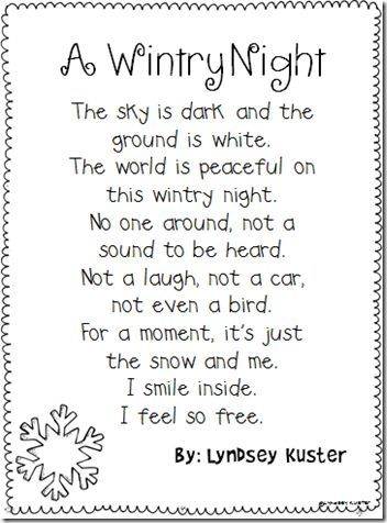 Kids Poems About Snow Kids Poems Poems About School Poetry For