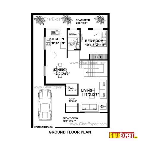 House Plan For 30 Feet By 44 Feet Plot Plot Size 147 Square Yards Gharexpert Com With Images Single Storey House Plans House Layout Plans House Plans
