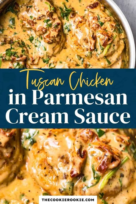 Succulent Tuscan Chicken in a dreamy, creamy Parmesan sauce. This delightful dish is packed with spinach, sun-dried tomatoes, garlic and loaded with flavor! Thanks to @danishcreamery European Style Butter, this buttery parmesan cream sauce is so amazing, you'll be making this time and time again.