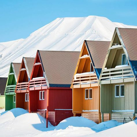 Longyearbyen, Svalbard, Norway joyful pretty colors for a lonely cold place on our planet