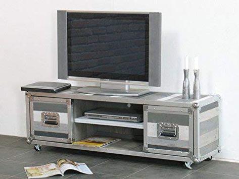 Dynamic24 Designer Flightcase Meuble Tv Meuble Tv Gris Amazon Fr